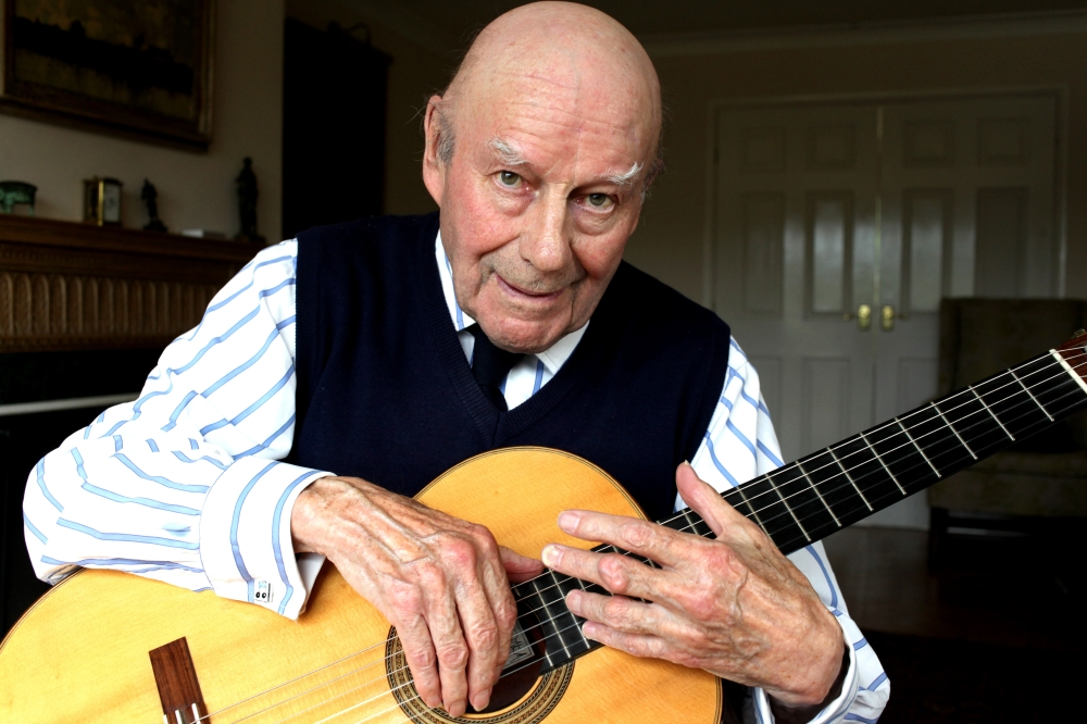 Julian Bream at home.
