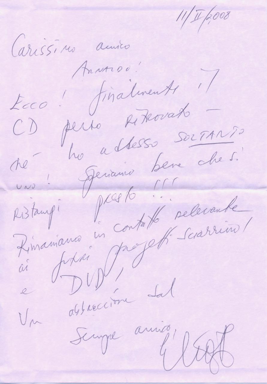 Lettera Fisk Arnaldo Berio