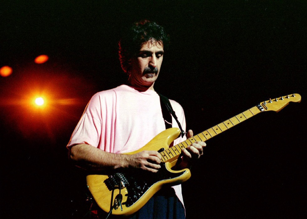 Rock musician Frank Zappa shown at Washington D.C.'s Warner Theater in 1988..