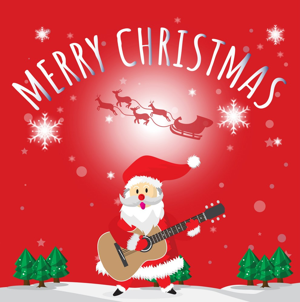 santa-play-guitar-merry-christmas-red-background-vector-18923829